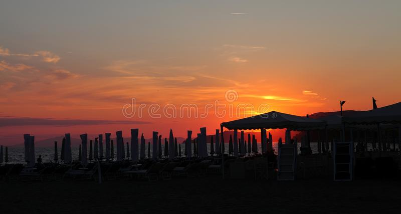 The colors of the sunset - Castiglione della Pescaia - Italy. The colors of the sunset - Castiglione della Pescaia, Tyrrhenian Sea, Tuscany Italy royalty free stock images