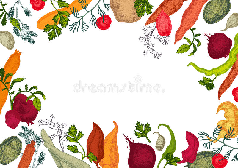 Colors vegetables frame with healthy food royalty free illustration