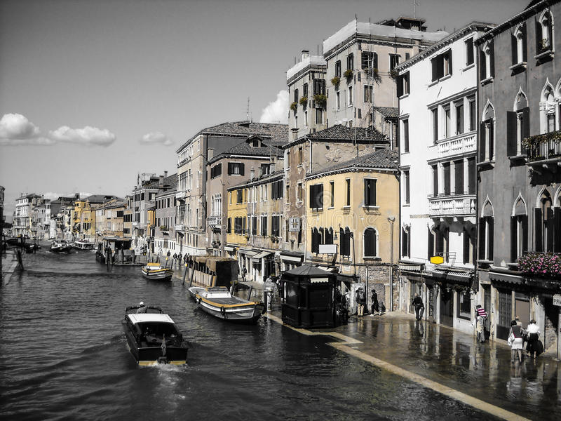Colors of Venice. Yellow and magenta colors of Venice, Italy stock photos