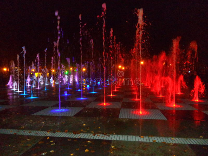 Colors of water fountain kazan 2016 stock images