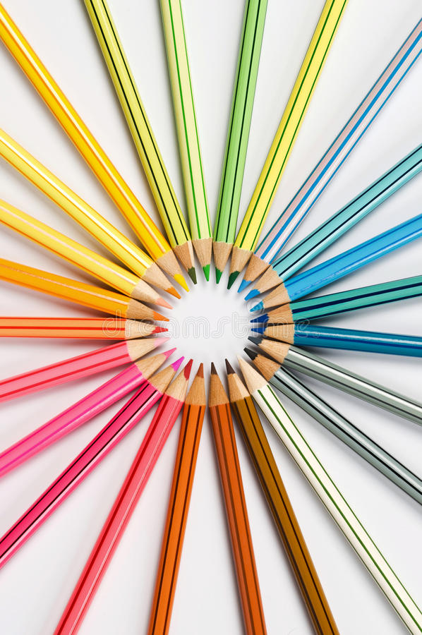 Colors wheel. Color pencils in arrange in color wheel colors royalty free stock photography