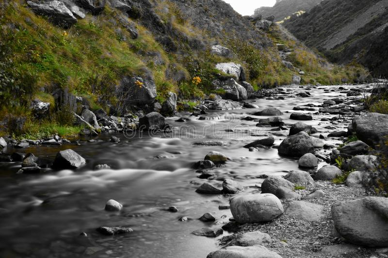 Heddons mouth in Devon. Colorsplash of the river flowing into Heddons mouth in Devon royalty free stock photography