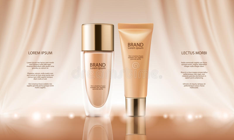Colorstay make-up in elegant packaging on a background of drop of foundation. Vector 3D cosmetic illustration for the promotion of foundation premium product vector illustration
