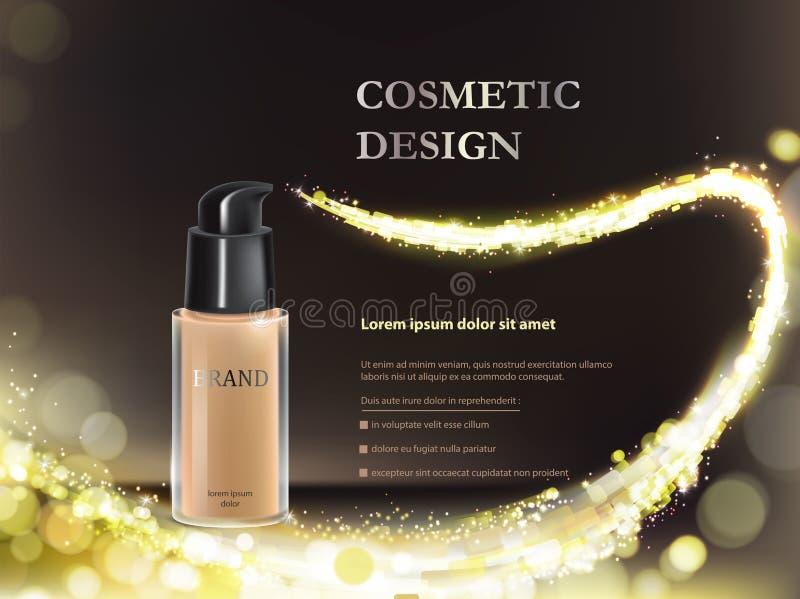 Colorstay smink i glasflaska på en svart bakgrund med guld- flödesbeståndsdelar vektor illustrationer