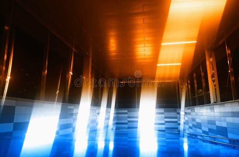 Colorul light leak in city metro background. Diagonal orientation vivid vibrant bright rich composition design concept element object shape backdrop decoration stock photo