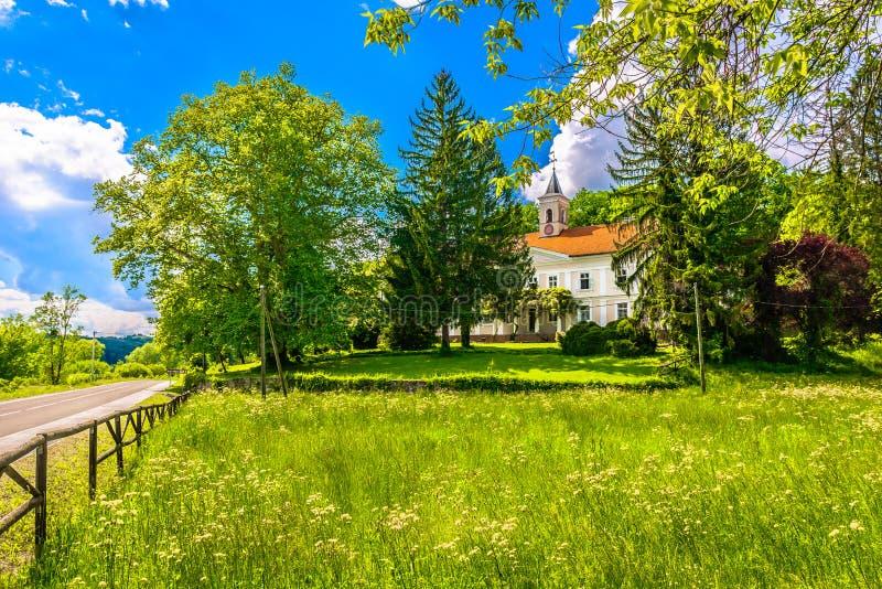 Colorul spring scenery in Zagorje. Scenic view at picturesque countryside in Bezanec near Pregrada, tourist resort in Zagorje region royalty free stock image