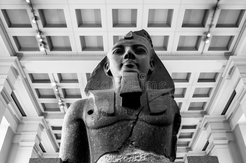 Colossal bust of Ramesses II at the British Museum. London, England royalty free stock images
