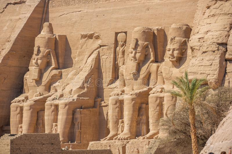 Colossal statues of Ramesses II. In front of the Great Temple of Abu Simbel royalty free stock photos