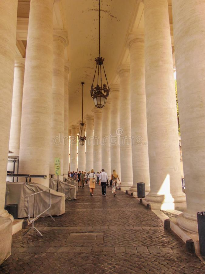 The colossal Tuscan colonnades of Vatican. Vatican - Rome, Italy - September 2018. The colossal Tuscan colonnades of St. Peter Basilica stock photo