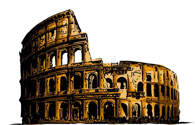 Colosseo dell'illustrazione di vettore Storia della costruzione di arte delle attrazioni dell'Italia illustrazione vettoriale