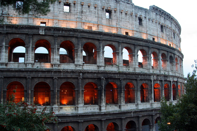 Colosseo at dusk. Shot in Rome, Italy. Colosseo is not only one of Rome's sightseeing attractions but one of the most famous landmarks of the world. Shot at dusk stock images