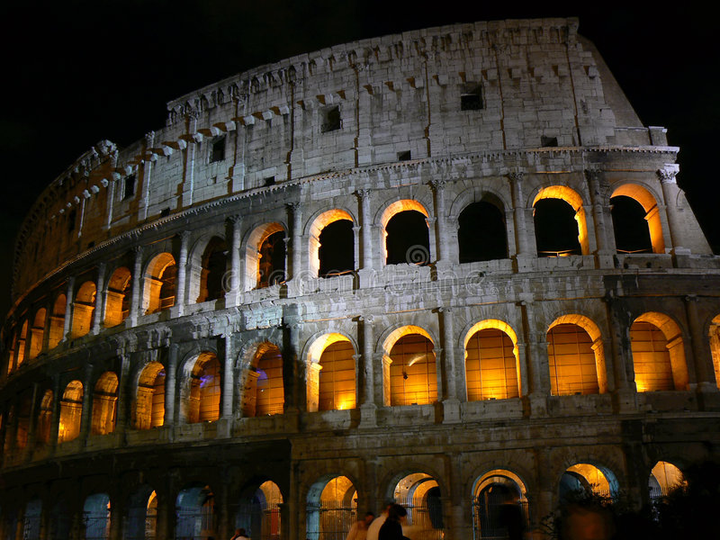 Download Colosseo in night time stock image. Image of triumph, stone - 1282853