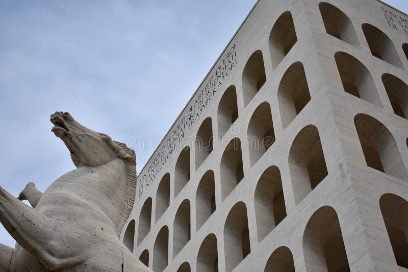 Colosseo quadrato, Rzym EUR zdjęcie stock