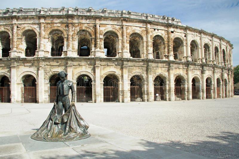 Colosseo romano - Nimes, Francia fotografia stock libera da diritti