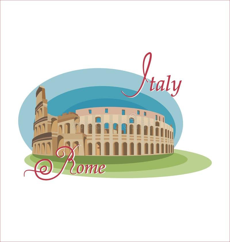 Colosseum ? um s?mbolo de It?lia Vista de Roma ilustração royalty free