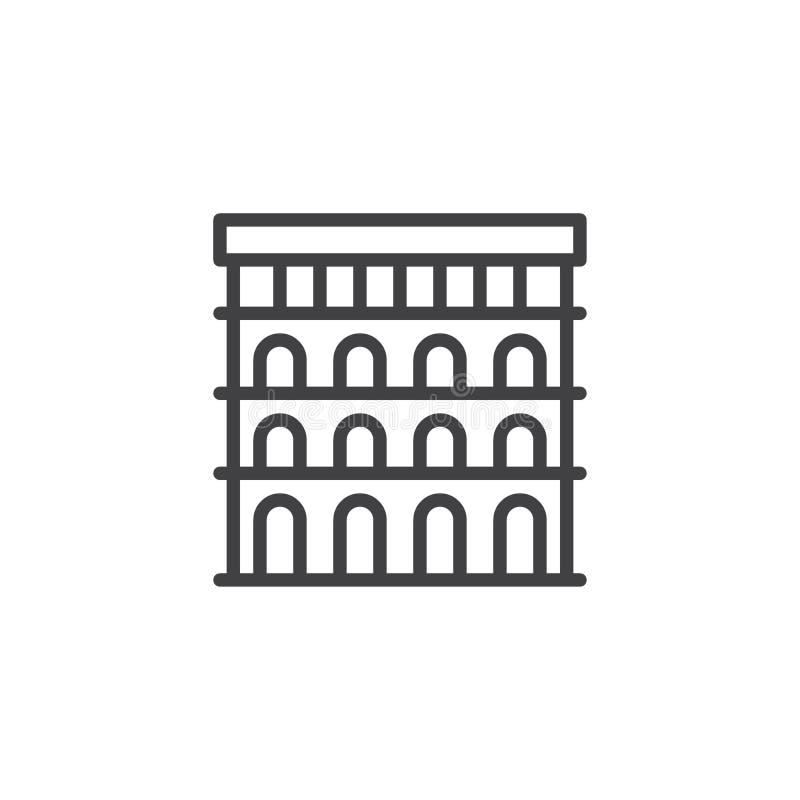 Colosseum översiktssymbol royaltyfri illustrationer