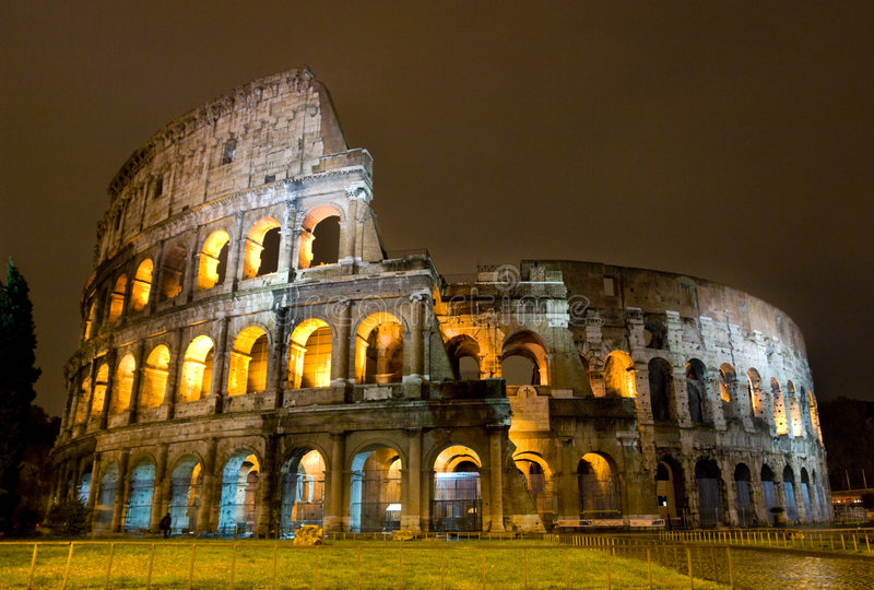 Download The Colosseum stock image. Image of light, ancient, night - 7856541