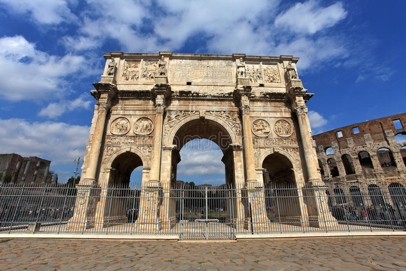 Colosseum and Arco de Costantino stock image