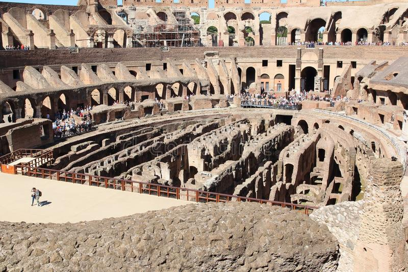 The Colosseum Arena, Rome. The Colosseum Arena, showing the hypogeum now filled with walls, Rome, Italy. The walls were added early in the Colosseum`s existence stock image