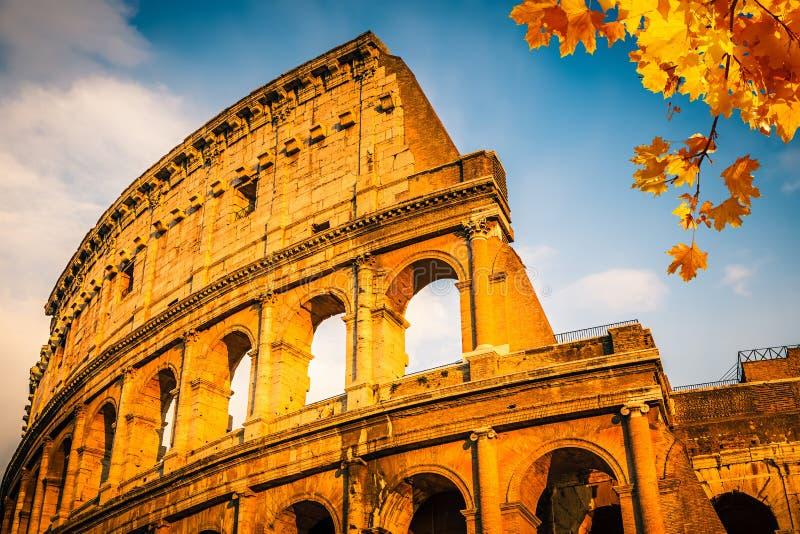 Colosseum bij zonsondergang stock fotografie