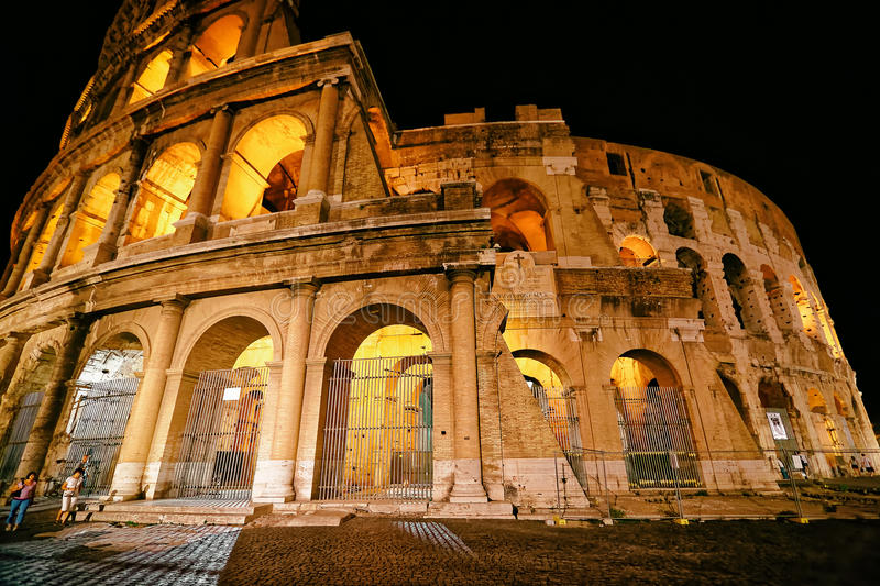 Colosseum in city center of Rome Italy at night stock images