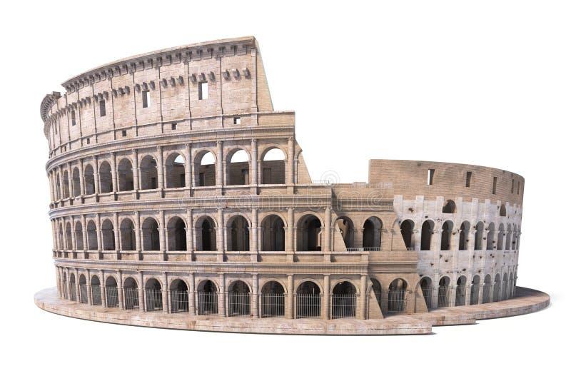 Colosseum, Coliseum που απομονώνεται στο λευκό Σύμβολο της Ρώμης και της Ιταλίας, ελεύθερη απεικόνιση δικαιώματος