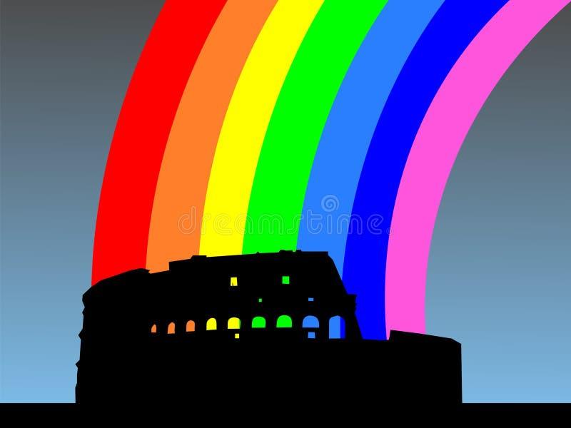 Colosseum con el arco iris ilustración del vector
