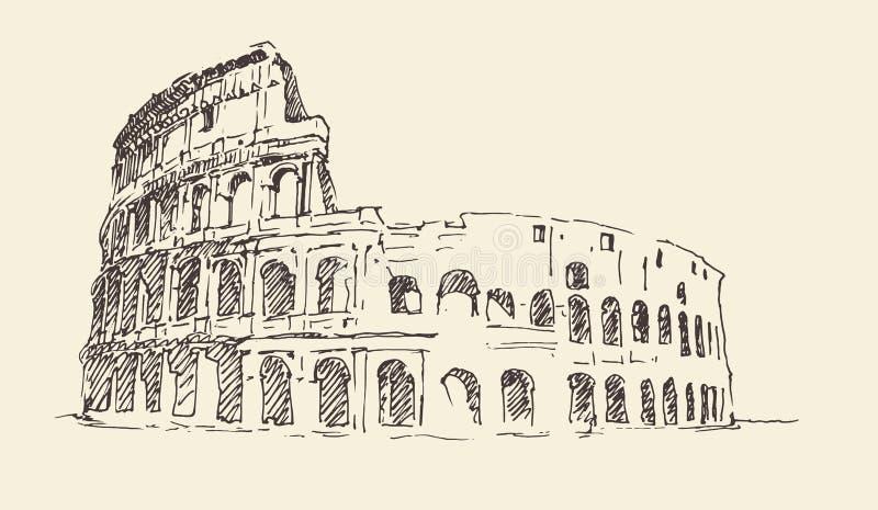 Colosseum de gegraveerde illustratie in van Rome, Italië wijnoogst stock illustratie