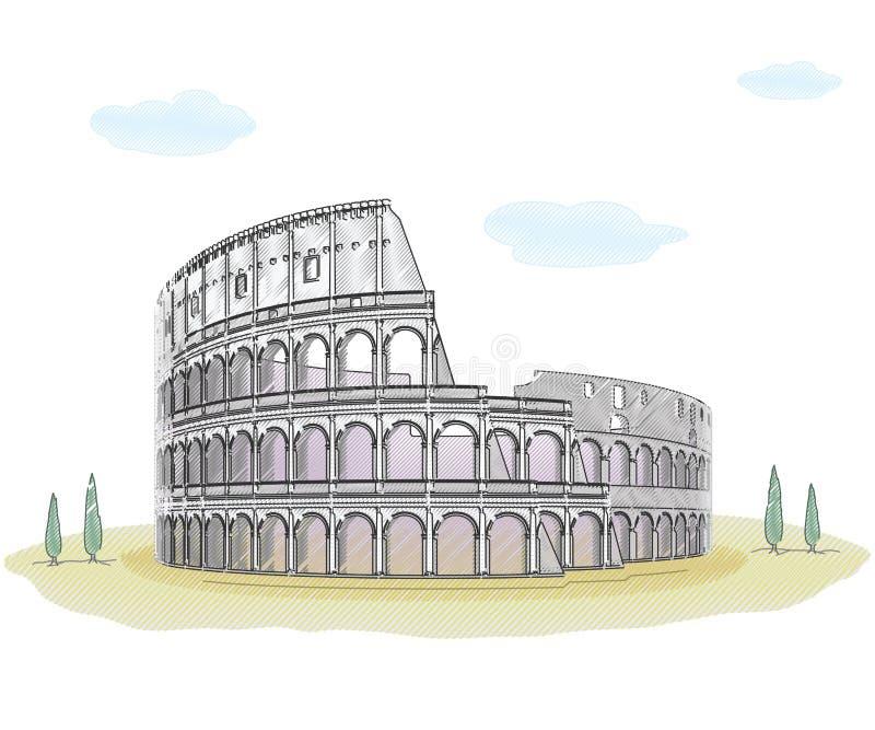 Colosseum - desenho de esboço ilustração royalty free