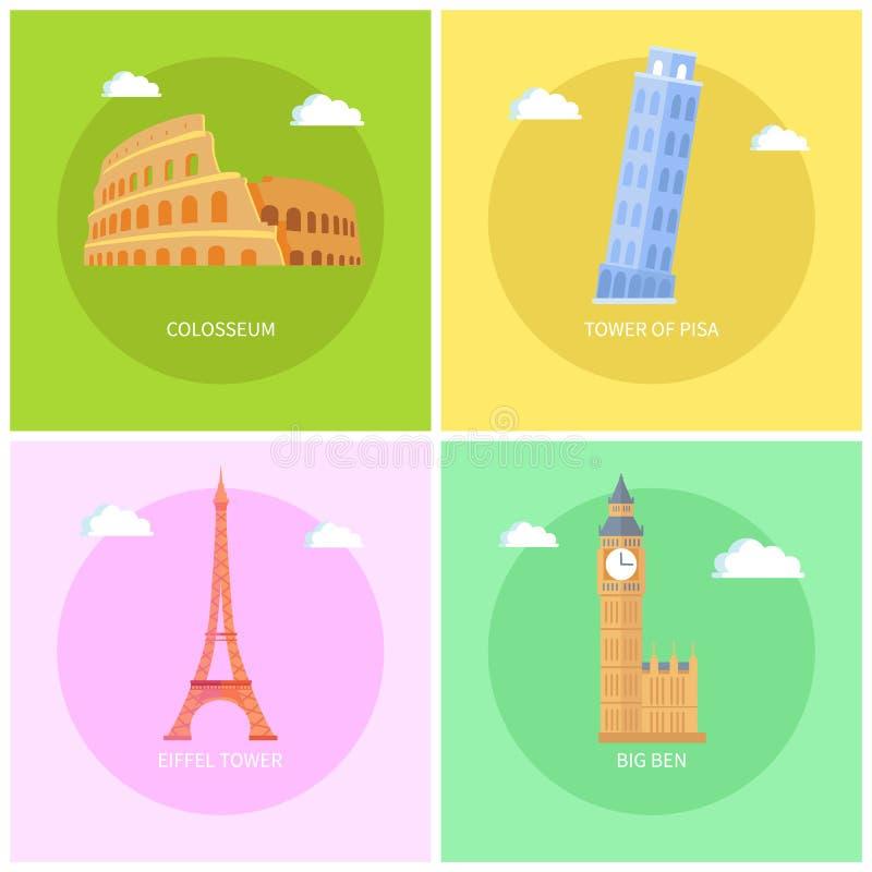 Colosseum e ilustração do vetor da torre Eiffel ilustração royalty free