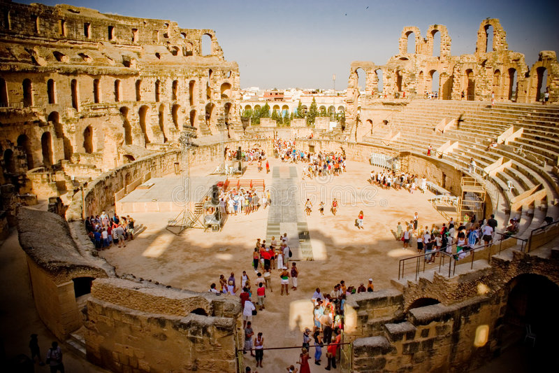 Colosseum, El Jem, Tunisia. El Jem Colosseum, Tunisia, arena filled with tourists royalty free stock photography