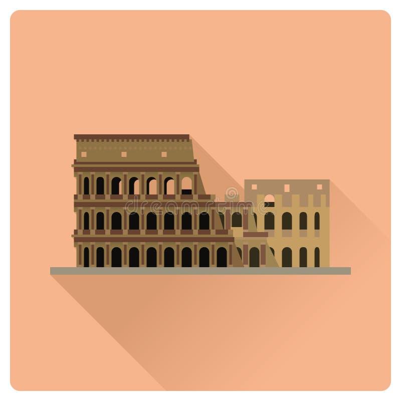 Colosseum em Roma, Itália, ilustração lisa do vetor do projeto ilustração stock