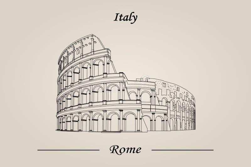 Colosseum en Roma, Italia Ilustración del vector aislada libre illustration
