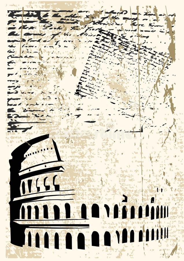Colosseum Grunge. Background grunge illustration with the Colosseum against a text background stock illustration