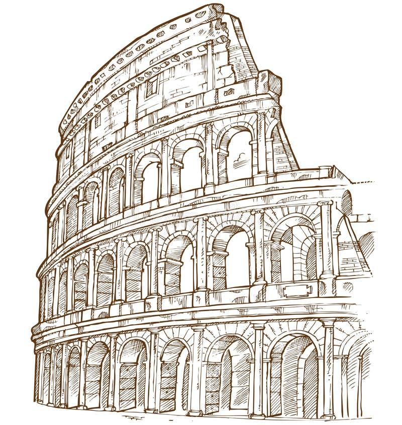Colosseum handattraktion vektor illustrationer