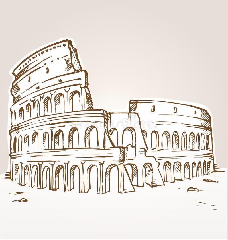 Colosseum handattraktion royaltyfri illustrationer
