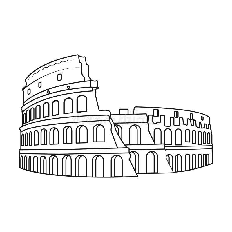 Colosseum i den Italien symbolen i översiktsstil som isoleras på vit bakgrund Landssymbol vektor illustrationer