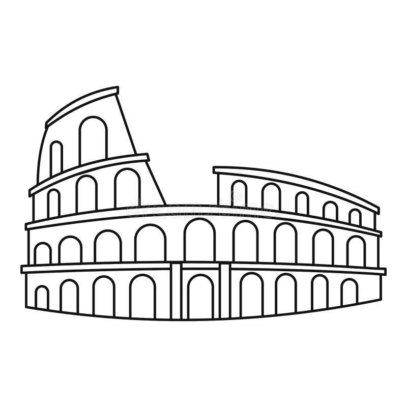 Colosseum i den Rome symbolen, översiktsstil vektor illustrationer