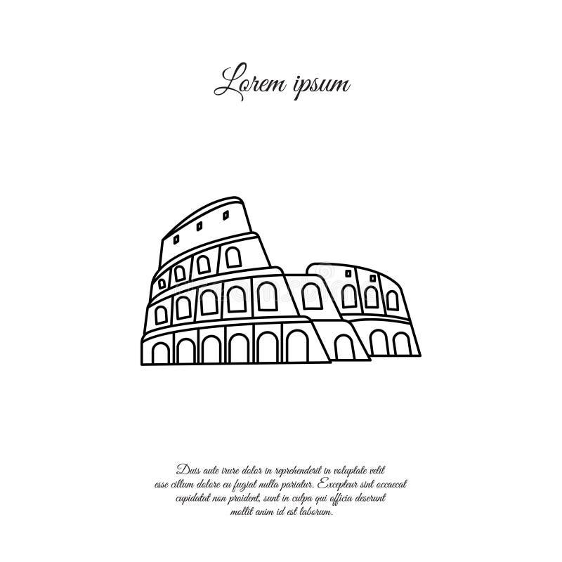 Colosseum i den Rome vektorlinjen symbol, tecken royaltyfri illustrationer