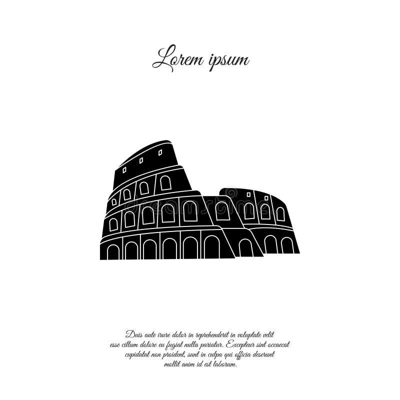 Colosseum i den Rome vektorsymbolen, tecken vektor illustrationer