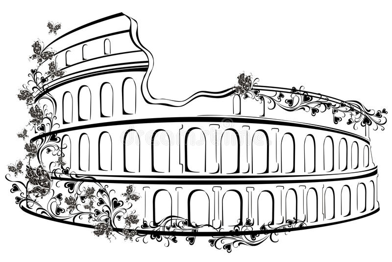 Colosseum i Rome, Italien stock illustrationer