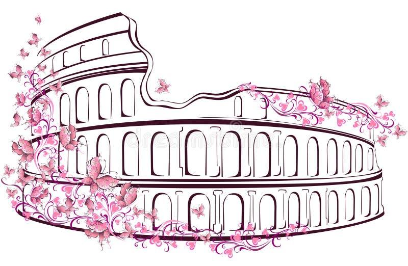 Colosseum i Rome, Italien vektor illustrationer