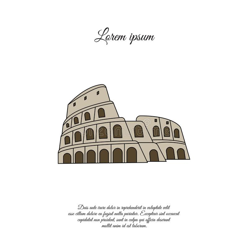 Colosseum i symbolen för Rome färgvektor, tecken vektor illustrationer