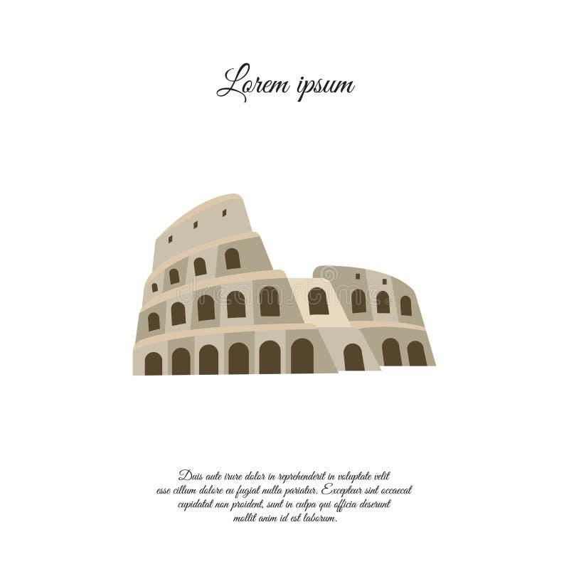 Colosseum i symbolen för Rome färgvektor, tecken royaltyfri illustrationer