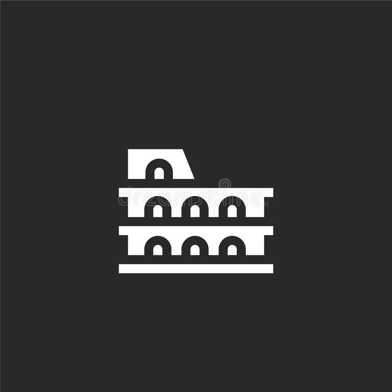 Colosseum icon. Filled Colosseum icon for website design and mobile, app development. Colosseum icon from filled italy collection royalty free illustration