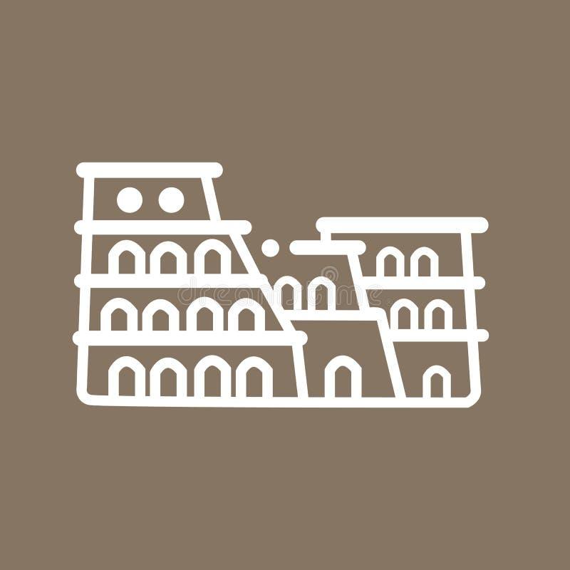 Colosseum Italie de Rome établissant antique symbole plat de tourisme d'icône de schéma illustration libre de droits