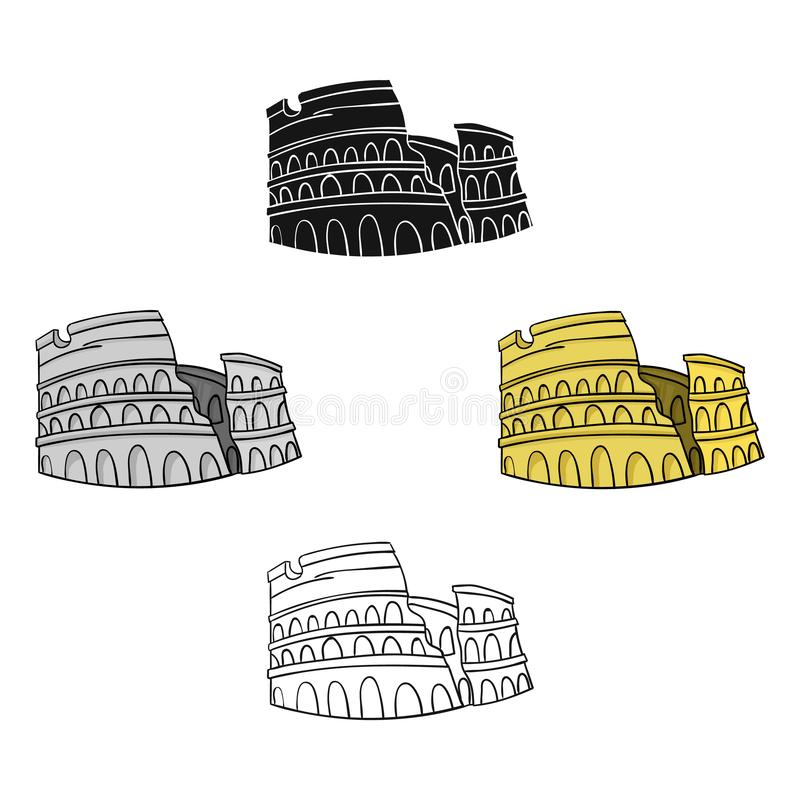 Colosseum in Italien-Ikone in der Karikatur, schwarze Art lokalisiert auf weißem Hintergrund Italien-Landsymbol-Vorratvektor lizenzfreie abbildung