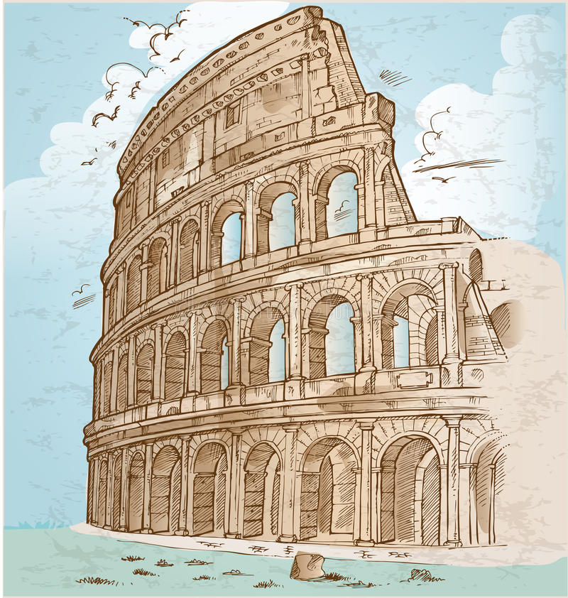 Colosseum koloru ręki remis royalty ilustracja