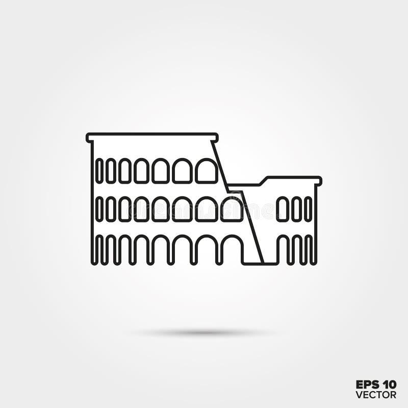 Colosseum linii ikona ilustracji