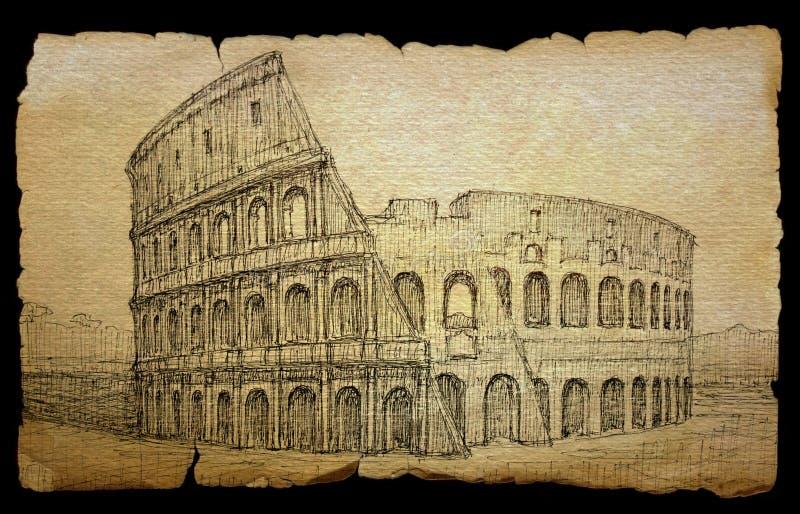 Colosseum målade vid färgpulver stock illustrationer